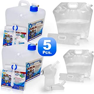 WaterStorageCube BPA Free Premium Collapsible Water Containers, Odorless Camping Drink Storage Carrier Bag & Jug for Outdoors Hiking Backpack, Portable, No-Leak, Freezable (5PC Set 2 Cube 2 Bag 1 Btl)