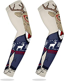 UV Protection Cooling Arm Sleeves Sports Running Golf Cycling Basketball Driving Fishing Long Arm Cover Sleeves with Chrismas Reindeer with Sweater