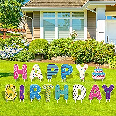 14 Pack Colorful Happy Birthday Yard Sign with Stakes 18 inch Large Happy Birthday Letter Yard Signs Weatherproof Corrugated Plastic Signs Outdoor Lawn Decorations.