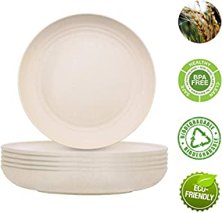 [6PCS] Wheat Straw Plates, 8.97 inch Reusable Unbreakable Deep Dinner Plates Big Plates, Biodegradable Straw Kid Plates for toddler, Dorm, college, Dishwasher & Microwave Safe, Non-toxic