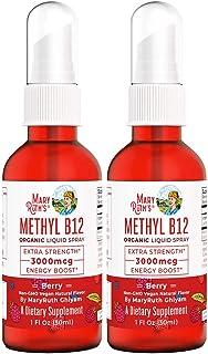 Organic Vitamin B12 (Methyl) Liquid Sublingual Spray by MaryRuth's Energy Boost - 0 Sugar - Non-GMO Vegan - Gluten Free - ...