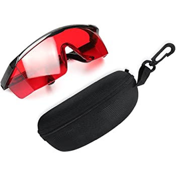 Huepar GL01R Red Laser Enhancement Glasses - Eye Protection Safety Glasses for Red Laser Level, Rotary and Multi-Line Laser Tools - Goggles with Adjustable Temple (Protective Box Included)