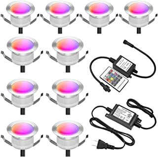 "FVTLED Low Voltage 10pcs Multi-color RGB LED Deck Lights Kit 1-3/4"" Stainless Steel Recessed Wood Outdoor Yard Garden Deco..."