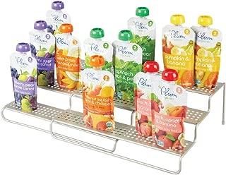 mDesign Adjustable, Expandable Kitchen Cabinet Metal Wire Kid/Baby Food Storage Shelf Organizer Rack Holder - for Pouches, Jars, Bottles, Formula, Juice Boxes - 3 Level Storage, Up to 25
