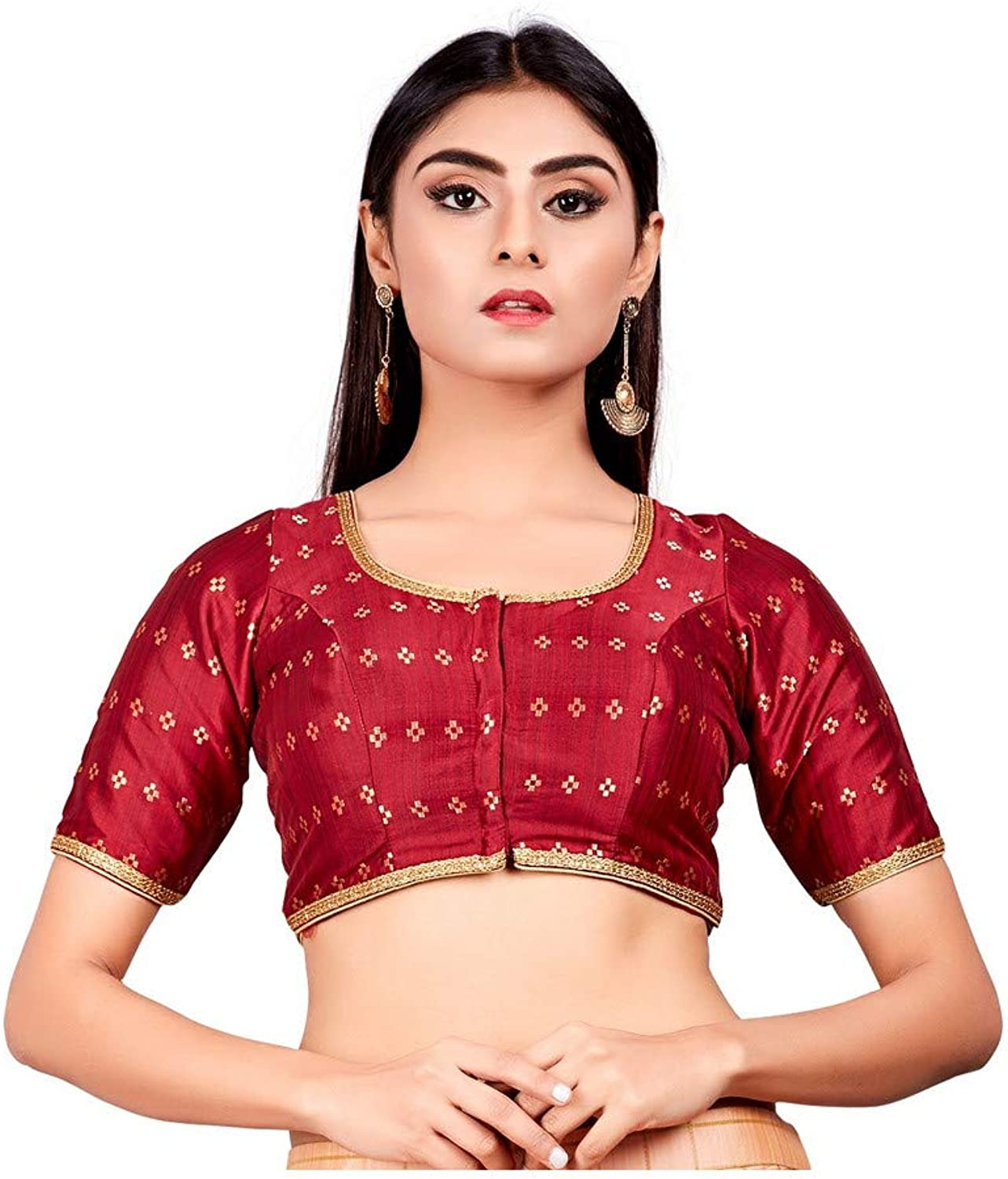 Designer Indian Maroon Dupion Silk Padded Front Open Hooks Elbow Sleeves Saree Blouse (Co722)