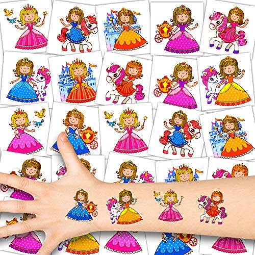 German Trendseller® 12 x Prinzessin Kinder Tattoos - Set Tattoo - Party ┃ Kindergeburtstag ┃ Mitgebsel ┃ Süße Kleine Prinzessinnen ┃12 Tattoos
