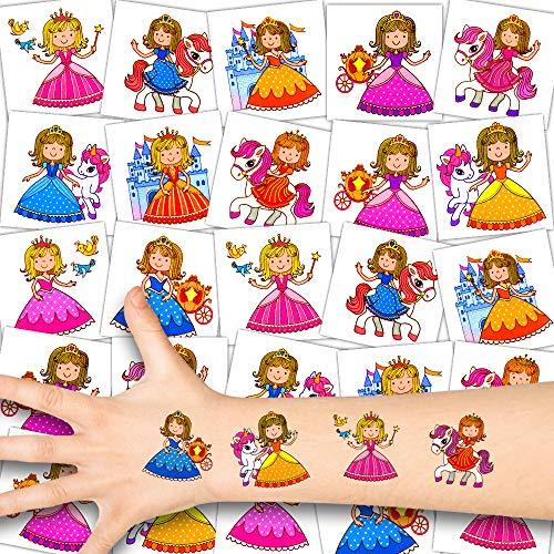 German Trendseller® 12 x Prinzessin Kinder Tattoos - Set Tattoo - Party ┃ Kindergeburtstag ┃ Mitgebsel ┃ Süße Kleine Prinzessinnen ┃12 Tattoos