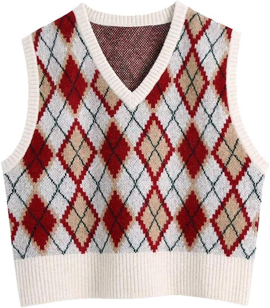 Women Fashion Loose Cropped Argyle Knitted Vest Sweater Vintage V Neck Sleeveless Female Waistcoat Chic Tops
