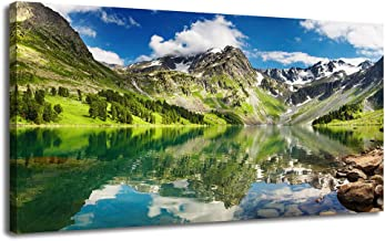 Ardemy Canvas Wall Art Prints Mountain Lake Landscape Turquoise Panoramic Picture, Modern National Park One Panel Large Size Framed Painting for Living Room Bedroom Kitchen Home Office Decor 40