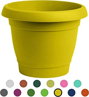 ALMI Carmel Round Planter 9 Inch, Plastic Rounded Pot For Garden, Elegant Shaped Flower Tree, Tapered Planters For Plants, Small Trees, UV Resistant Paint, Indoor & Outdoor, Yellow
