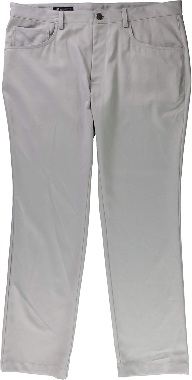 I-N-C Mens Shiny Casual Trousers stuccogray 36x30