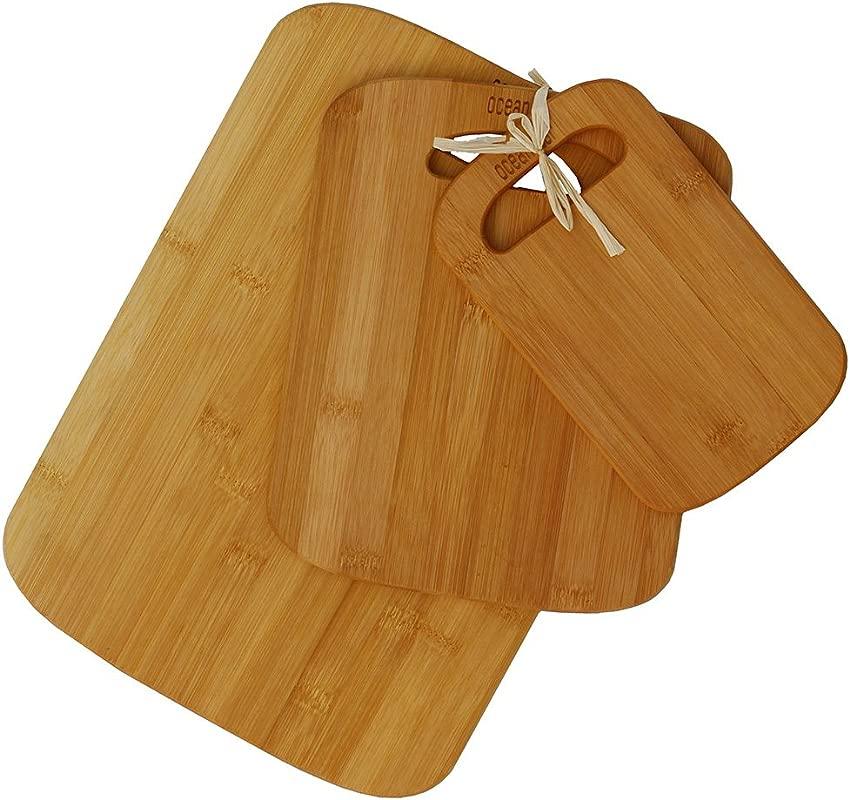 Oceanstar 3 Piece Bamboo Cutting Board Set Natural
