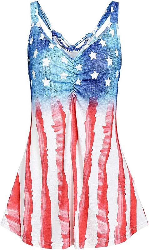 Staron American Fag Tank Top Women Womens 4th July Tanks USA Flag Stripe Printed Patriotic USA Flag Tops Shirts Blouse