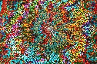 Tapiz bohemio de pared hecho a mano con un diseño de mandala de estilo indio de la luna y del sol hecho a mano para colgar de la pared, 100% algodón, multicolor, DESIGN 2