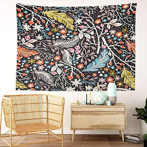 Y·JIANG Tapiz de plumas, diseño floral de bayas y flores para el hogar, decoración grande, manta para colgar en la pared para sala de estar, dormitorio, 203 x 152 cm