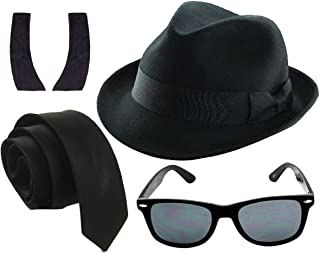 Men's 1980's Blue Brothers et Costume Hat Tie Glasses Sideburns
