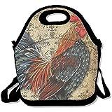 Rooster Art pettine grandi e spessi neoprene lunch Bags lunch Tote Bags Cooler calda calda borsa con tracolla per le donne teenager ragazze bambini adulti