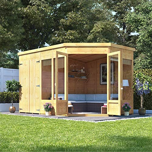 BillyOh Penton Corner Summerhouse with Side Store | 11x7 Wooden Tongue & Groove Summerhouse | Floor, Roof and Felt Included | Left or Right Side Store- 11ft x 7ft (Store on Left)