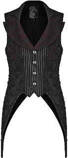 Punk Rave Mens Gothic Waistcoat Vest Black Red Pinstripe Visual Kei Shredded Lace