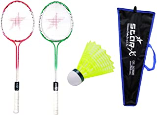 StarX Aluminium Shaft Badminton Racket with Double Wiring, Soft Grip, Light Weight, Cover Protected and Shuttle Cock for Unisex (Multicolour) - Pack of 10