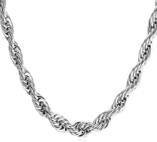 Men Womens Stainless Steel 18K Real Gold Plated Twisted Rope Chain Necklace,Width 1.2mm/1.5mm/3mm/5mm/6mm/9mm,Length 18-30 Inch, with Gift Box