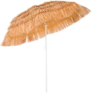 Deuba Parasol Hawaii - Ø 160 cm - Naturel - Inclinable pour Jardin terrasse Plage