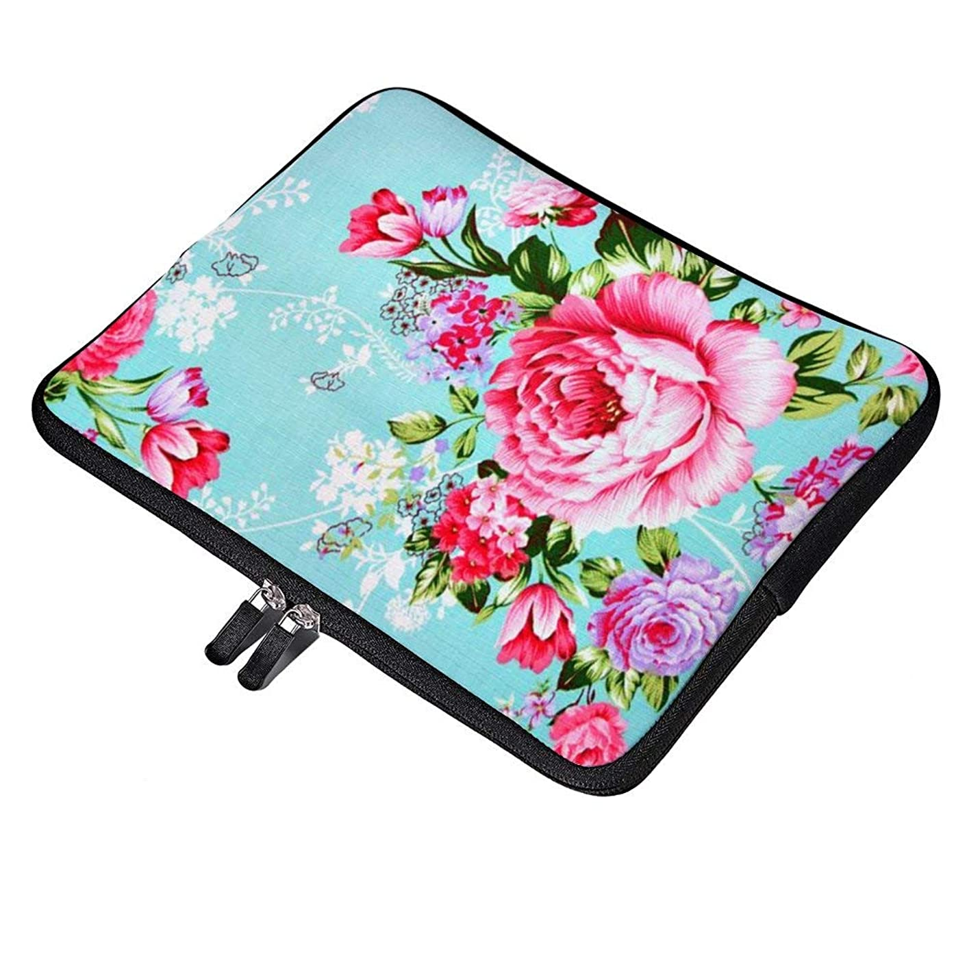 Vintage Chic Pink Floral GelNeoprene Soft Sleeve Case for MacBook 12 Inch & MacBook Air 11.6 Inch and Laptop up to 12