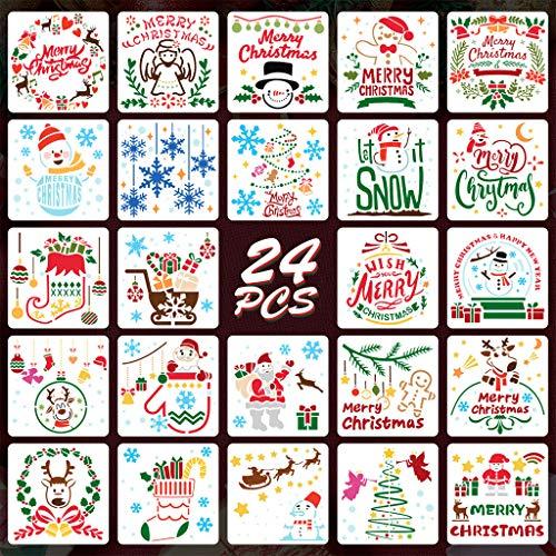 Juego de plantillas de Navidad, 24 unidades, para diarios Bullet Journals, scrapbooking, pintura, dibujos, manualidades, 15 x 15 cm