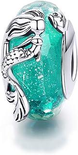 Abalorio de plata de ley 925 con circonita cúbica verde para pulsera Pandora Estilo 3