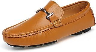 [QIFENGDIANZI] スリッポン メンズ ドライビングシューズ デッキシューズ 紳士靴 ウォーキングシューズ カジュアルシューズ スニーカー モカシン ローファー フラットシューズ かかとが踏める 快適 コンフォート イエロー