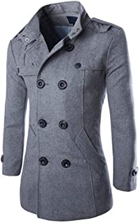 Leomodo Fashion Men's Wool Coat Winter Trench Dust Coat Wind Outwear Overcoat Long Jacket