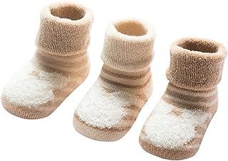 3 Pares de Calcetines Bebé Algodón organico Grueso Calcetines Térmicos Largo Recién Nacidos 0-36 Meses Invierno Para Niños Niñas