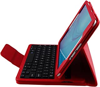 Lrufodya Keyboard Case for 2015 Galaxy Tab A Tablet 9.7 inch (SM-T550 / P550), Ultra-Thin Slim Detachable PU Leather Wireless Keyboard Stand Case/Cover for Samsung TabA 9.7 T550, Red