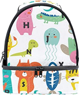 Mydaily Kids Lunch Box Zoo Alphabet Cute Cartoon Animals Reusable Insulated School Lunch Tote Bag