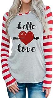 Hello Love Valentine's Day T Shirt Women's Stripe Long Sleeve Tops Heart Arrow Graphic Valentine Tees
