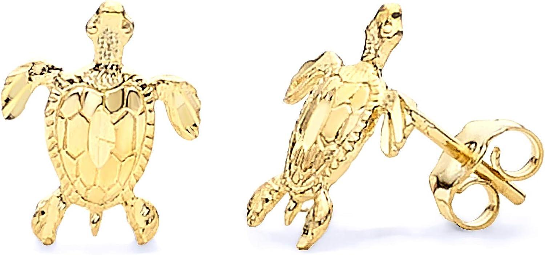 14k Yellow Gold Turtle Stud Earrings (8 x 10 mm)