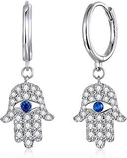 Vertebra Earrrings with Turquoise Beads and Hamsa Hands