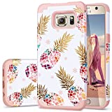 Fingic S6 Case,Pineapple Samsung S6 Case, Cute Pineapple Design Thin Case 2 in 1 Hybrid Case Hard Back&Soft Silicone Raised Edge Shock Absorption Protective Cover for Samsung Galaxy S6,Pink Pineapple