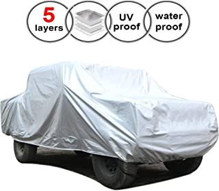 SEAZEN Car Cover Waterproof All Weather,Full car Covers UV Protection/Snowproof/Dustproof,Universal car Cover 5 Layer Breathable Fabric with Cotton(246