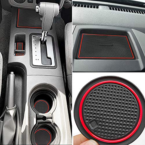 Auovo Anti Dust Mats for Nissan Frontier Crew Cab 2005-2019 Nissan Xterra Accessories 2005-2015 Custom Fit Door Pocket Liners Cup Holder Pads Console Mats (24pcs/Set) (red)