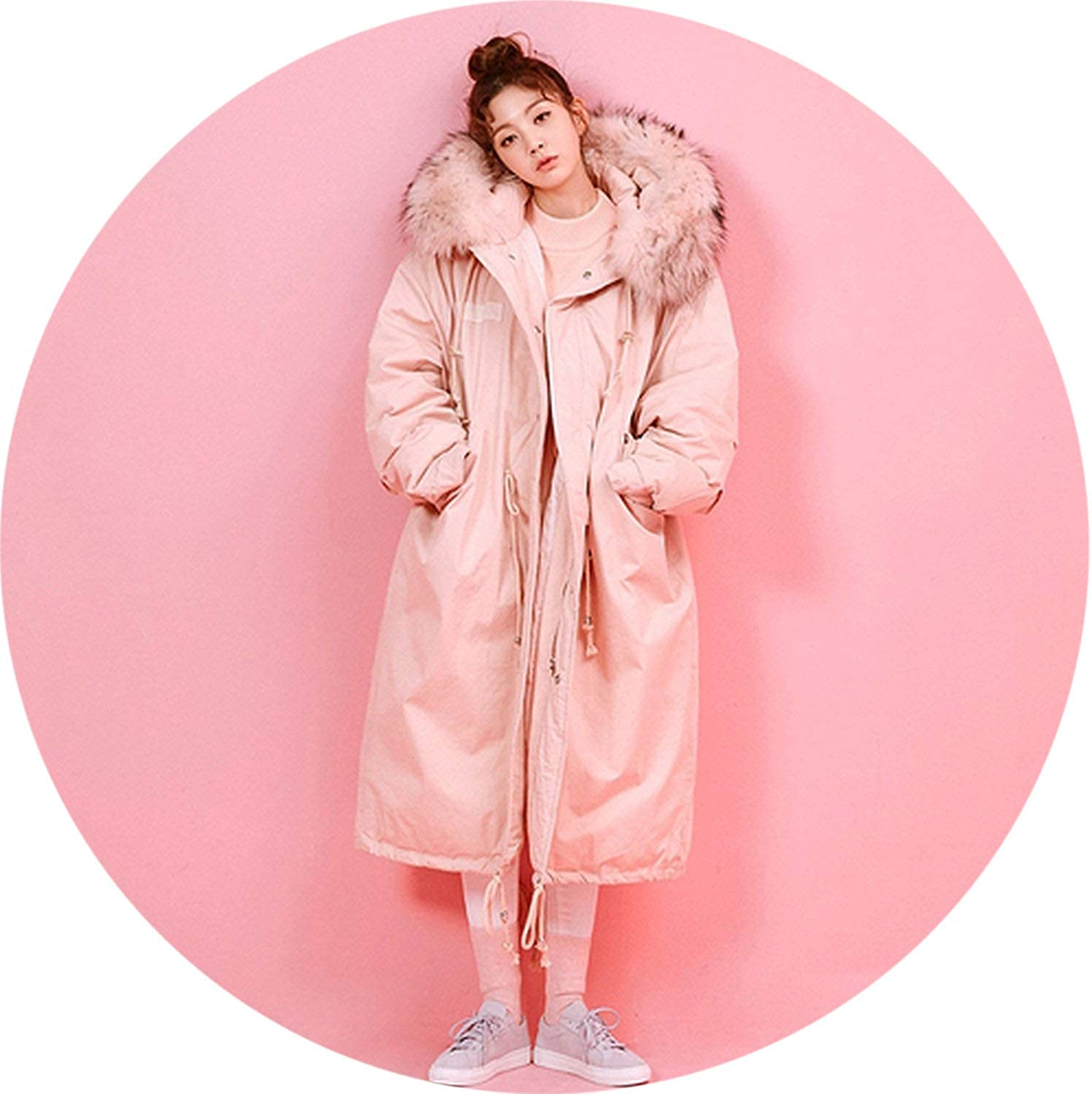 Winter Windproof Female Womens Quilted Coat Jackets Long Warm Thicken Fur Hooded Parkas