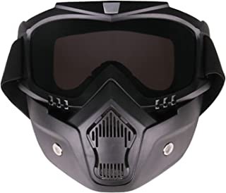 Aooaz Motorcycle Goggles Riding Detachable Face Mask Shield Goggles