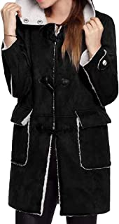 Womens Mid Length with Hooded Long Sleeve Horn Buckle Loose Outwear Overcoats Tops