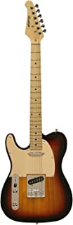 Sawtooth ST-ET-LH-SBW Left Handed Electric Guitar, Sunburst with Aged White Pickguard