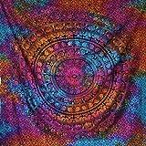 momomus Tapiz de Pared de Mandala - Hecho a Mano, de Algodón y Tintes vegetales - Multicolor, de Inspiración Simétrica, Pareo/Toalla de playa grande - Elegante y Bohemio (Multicolor 16, 210x230 cm)