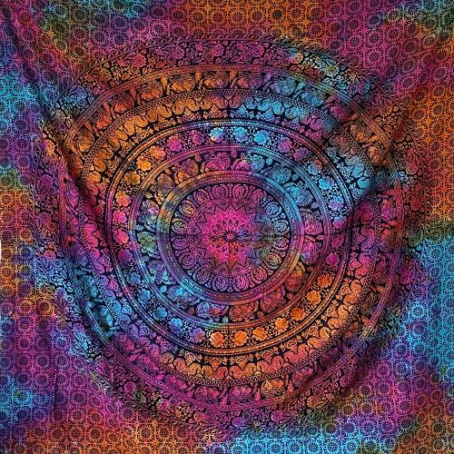 momomus Arazzo da Parete Grande - Mandala in Cotone Indiano/Etnico - Telo Mare Matrimoniale xxl con Motivi Simmetrici Ispirati alla Natura (Multicolore 16, 210x230 cm)