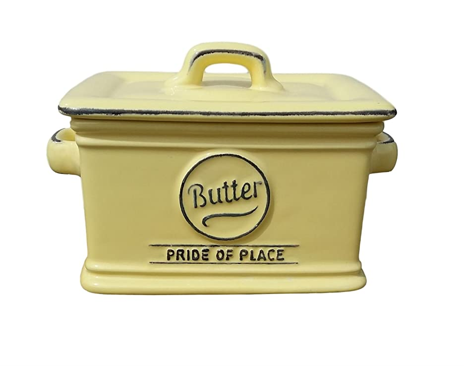 T&G Woodware Pride of Place QUALITY Stoneware Butter Dish in Soft Butter Yellow