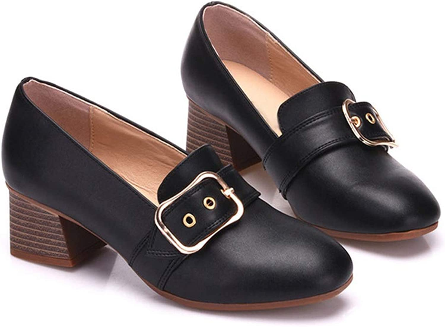 Women High Heels Loafers Genuine Leather Boat shoes Lady Buckle Square Heel shoes Slip On Footwear