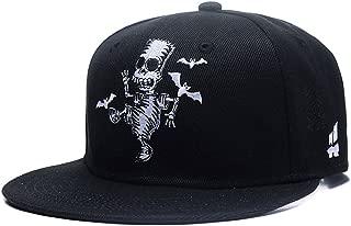 Quanhaigou Skull Skeleton Baseball Cap, Men Solid Flat Bill Adjustable Snapback Hats Unisex
