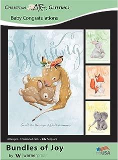 Bundles of Joy - Baby Congratulations Greeting Cards - KJV Scripture - (Box of 12)